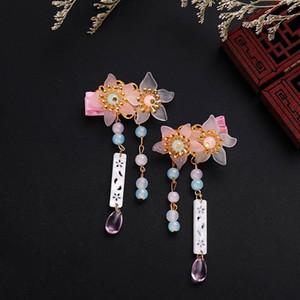 Китайские шпильки розовый цветок жемчуг из бисеров волос зажимы волос женщин девушки hanfu платье костюм волос ювелирных наушников головной убор 2021