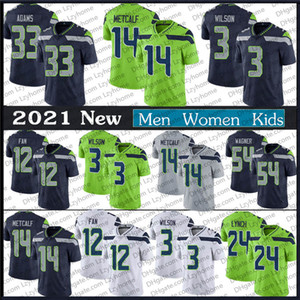 Hombres Mujeres Niños 3 Russell Wilson 14 DK Metcalf Sea Jersey 54 Bobby Wagner Tyler Lockett Fan 24 Marshawn Lynch 33 Jamal Adams Football Jerseys