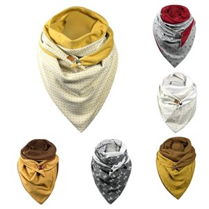 Women Winter Fashion Button Scarf Soild Dot Printing Button Scarf Soft Wrap Casual Warm Scarves Shawls Long Shawl Colorful