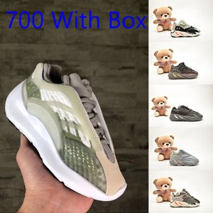 Kids Girls Kanye West 700 MNVN Baby Boy Orange Black Bone Running Shoes Runner 700 Inertia Static Geode Tephra Free Shipping With Box