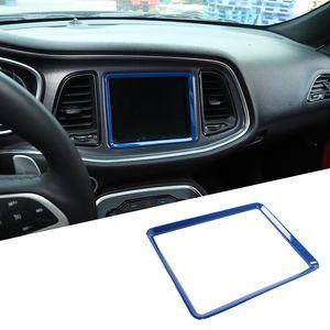 Blue Center Consols Навигационная рамка Украшения для украшения для Dodge Challenger 2015 Вверх Аксессуары для интерьеров ABS