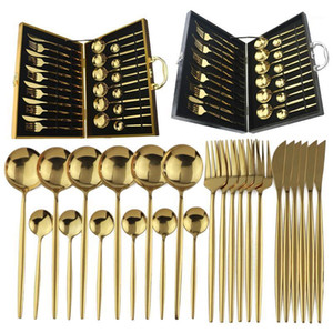 24pcs Gold Dinnerware Set 18 10 Stainless Steel Flatware Set Knife Fork Spoon Cutlery Kitchen Tableware Silverware With Gift Box1