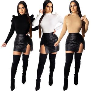 Lanterne T-shirts manches à col roulé Femmes Solid Designer Couleur Slim Sexy Tops Vêtements Automne Hiver Casual Femmes T-shirts