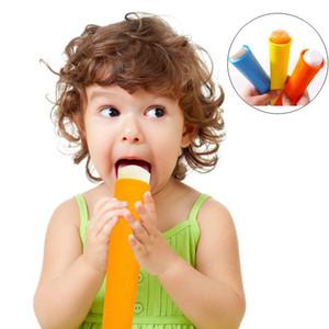 Ice Pop Maker Moldes 6 Cor Comida Grau Crianças DIY Silicone Gelado Gelado Antigo Molde de Picolé Com Tampa Ferramentas de Cozinha DHF2763