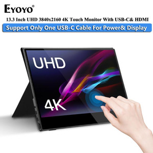 "Eyoyo Portable gaming Monitor 13.3"" LCD 4K UHD Type C HDMI Touch IPS 1080p Display for PS4 Laptop Phone Xbox Switch with Case"