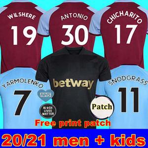 20 21 WEST soccer jersey 2020 2021 HAM United NOBLE jerseys ANDERSON RICE NOBLE football shirts men + kids kit 125th third black Free print