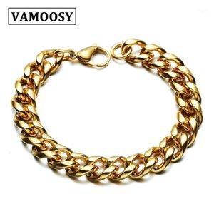 Vamoosy hombres pulsera color oro 316L titanio pulsera de acero inoxidable brazalete ancho 7-12.5cm accesorio masculino moda joyería