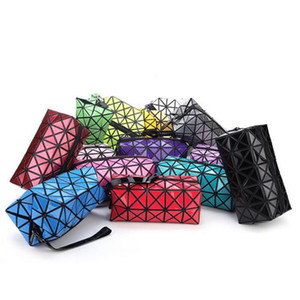 Fashion women Cosmetic bag cases Geometric folding make up bag quality PVC organizer makeup case beauty bags WY1094