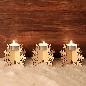 Wooden Christmas Candle Holder Set 12pcs set Candlestick Building Block Holiday Party Wooden DIY Candle Holder Decor DDE2166