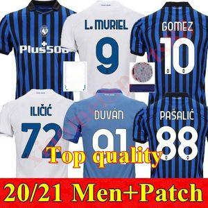 Atalanta Soccer Jerseys 20 21 Gomez L.Muriel Ilicic 2020 2021 Pasalic Football Shirt New Home 멀리 제 3 남자 드 Roon Duvan Uniform