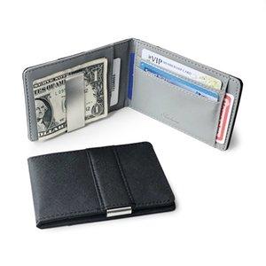 뜨거운 지갑 여성의 견고한 던 던 클립 패션 지갑 Bifold Money Metal Clamp Gentlemen ID 신용 카드 가죽 현금 홀더 Tqunv