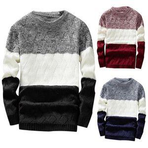 Herren Strickpullover Herbst-Winter-beiläufig O-Ansatz Striped dünne Knittwear Männer Pullover Pullover Pullover Pull Homme Kleidung