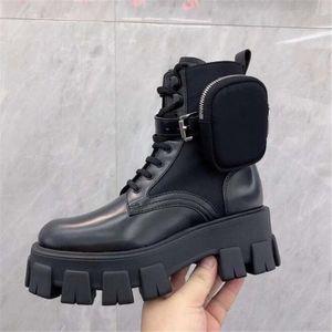 Осень Зима Мотоцикл голеностопного Wallet Combat Boots для женщин Платформы Искусственной кожи коренастого Блок каблуков дамы