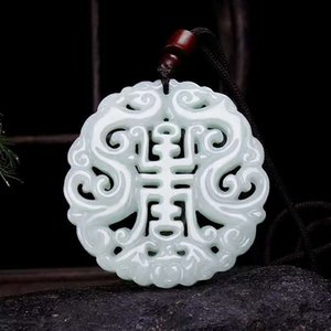 Jadeite A-goods fortune imitates the ancient dragon, with double-sided hollowed out longevity brand jade pendant and