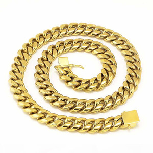 "Stainless Steel Jewelry Set 18K Gold Plated High Quality Cuban Link Necklace & Bracelet For Mens Curb Chain 1.5cm 8.5"" 22"" 24&quot"