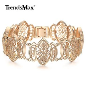 Fashion 585 Rose Gold Bracelet Bangle for Women Girl Cut Out Carved Flowers Vine Oval Wristband Jewelry Party Female Gift CBM01