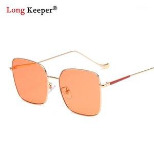 Óculos de sol praça enorme laranja mulheres homens 2021 moda metal grande moldura sol óculos vintage azul lente feminina oculos1