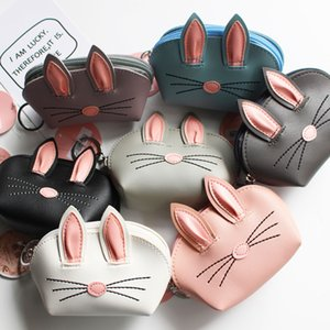 Korean Style 3D Rabbit Ear PU Leather Card Holder With Hanging Keychain Bunny Credit Card Coin Purse Holders Party Favor