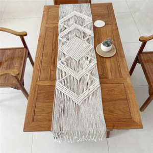 32x200CM Hollow Out Macrame Table Runner Boho Wedding Party Decoration Nordic Style Boho Table Runner with Tassels