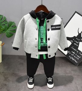 Autumn winter Clothing boy Cotton casual children's wear Baby Boys Baseball jacket hoodie + pants 3Pcs Clothes Sets