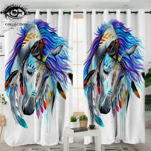 Pferd by Pixie Cold Art Living Room Curtain Tribal Horse Curtain for Bedroom Colorful Animal Drapes 1pc Watercolor rideaux Towel