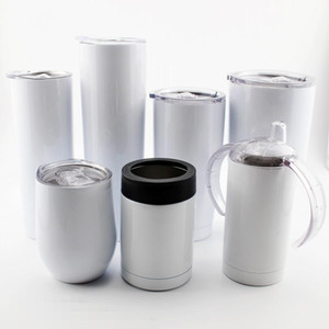 Blank Sublimation 12oz 20oz 30oz tumbler Mugs 18 8 Stainless steel straw for heat transfer printing DIY photo cup with lid G.02