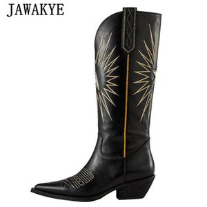 Explosive Star Embroidery Knee High Boots Women Point Toe Real Leather Chunky Heels Western Cowboy Knight Boots Zapatos De Mujer