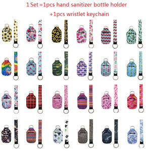 1 Set = 2pcs Porte-bouteilles de désinfection de la main en néoprène Porte-clés Keychain Keychain Association Livraison 30ml Main Sanitizer Blueur Titulaire