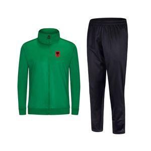 2021 Albania 새로운 스타일 축구 남성 자켓 바지 스포츠 착용 축구 트랙 슈트 성인 어린이 옷 세트