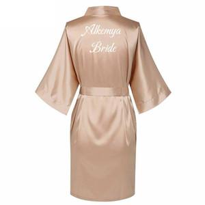 Satin Silk Robes Plus Size Bride Bridesmaid Robe Wedding Bathrobe Gown Women dressing Sleepwear Maid of Honor Rose Gold