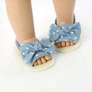 2020 малышей Infant лета младенца сандалии Полосатый Dot печати Bowknot Princess мягкое дно обувь 0 6M 6 12M 12 18M Дети Щорс Кроссовки на SnNk #