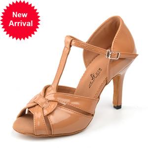 Ladingwu Brown Brown Brown Stale Femme Samba Tango Ballroom Salsa Chaussures de danse latin Chaussures 6 / 7,5 / 8.5 / 10cm