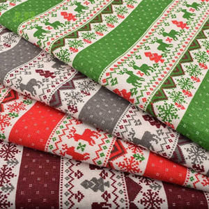 Chainho,Christmas Series,Printed Cotton Linen Fabric For DIY Quilting & Sewing Sofa,Table Cloth,Curtain,Bag,Cushion Material1