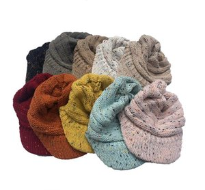 Epacket Delivery 2020 Winter Cap dot yarn colored wool hat Beret Cap ski jumper cap 5pcs lot .