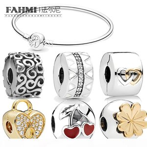 FAHMI 100% 925 Sterling Silver Classic CLOVER Crown Cherry Heart DIY Ladie Charm High Quality Bracelet Fashion Cilp Free Shipping Wholesale