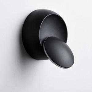 Lámpara de pared creativa LED Rotación de 360 grados Ajustable Blanco Blanco Negro Moderno Pasillo Lámpara de pared LED