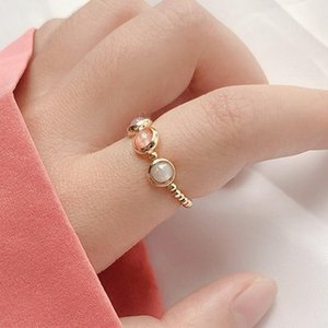 New Fashion Cute Simple Style Three Color Stone Beads Elastic Ring For Women Girls Minimalist Finger Jewelry Birthday Gifts