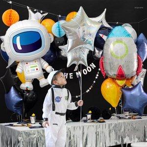 GIHOO 5 unids astronauta cohete barco de aluminio globos exteriores espacio exterior feliz cumpleaños galaxia decoraciones de fiesta niños globo baby shower1