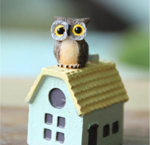 New Design Artificial Mini Cute Owl Birds Dolls Fairy Garden Miniatures Gnome Moss Terrarium Decor Resin Crafts Bonsai