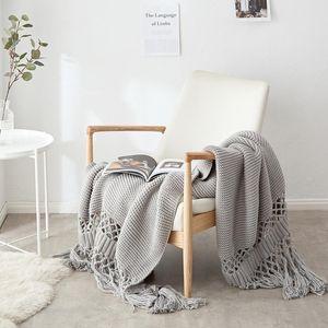 Decken für Betten Handgestrickte Sofa Decken Foto Requisiten Quaste Gewichtete Decke Klimaanlage Blanket Chunky Strickdecke