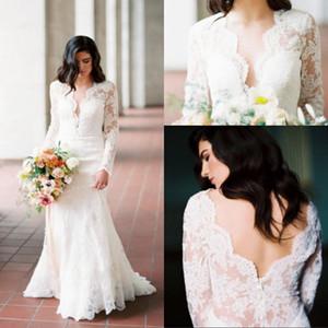 2021 Vintage Full Lace Wedding Dresses Sheath V Neck Lace Bohemian Country Garden Bridal Gowns Long Sleeves vestido de novia Marriage Dress