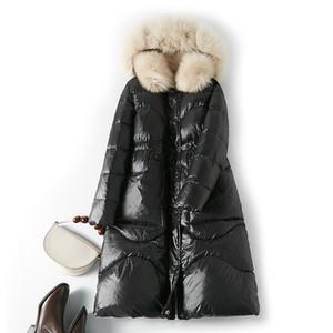 Women Winter Coat Natural Fox Fur Hooded 90% White Duck Down Jacket Slim Women Long Down Parka Female Thick Warm Coats Y201001