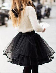Fashion High Waist Short Tulle Skirt Women Irregular Hem Mesh Tutu Skirt Plus Black Layer Mesh Sweet Ballet Skirts