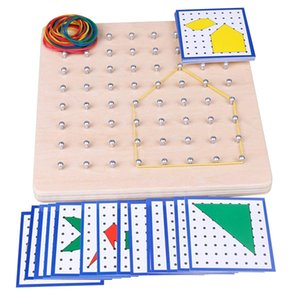 Baby Toy Montessori Creative Graphics Rubber Tie Nail Boards with Cards Childhood Education Preschool Kids Brinquedos Juguetes 200928