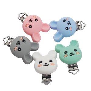 Chenkai 10 adet BPA Ücretsiz DIY Silikon Tavşan Diş Kaşıyıcı Bebek Hayvan Emzik Kukla Hemşirelik Emzirme Duyusal Oyuncak Hediye Aksesuarları 200930