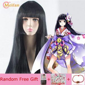 Meifan Uzun Düz Cosplay Peruk ile Bangs Sentetik Mor Cadılar Bayramı Lolita Anime Parti Peruk İçin Kadınlar LwF9 #