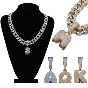 18K Gold CZ Zircon Big A-Z 26 Initial Bubble Letter Necklace Pendant Cuban Chain for Men Full Diamond Letters Hiphop Rapper Jewelry Gifts