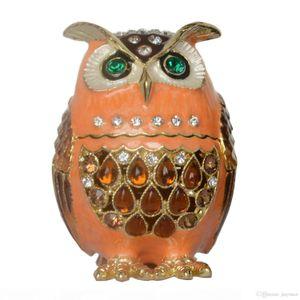 Vintage presentes de trinket coruja bejeweled caixa caixa jóias faberge strass decoração decoração casa colecionáveis aniversário de metal crystal AELOB