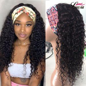 8A Headband Wigs Brazilian Water Wave Hair Wigs 150% Densidade Natureza Cor Brasileira Curly Human Wigs