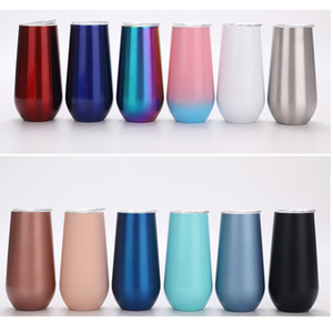 20 Colors Stainless Steel Wine Beer Mug 6oz Vacuum Insulated Tumbler Beer Wine Glasses Cup HH9-3539